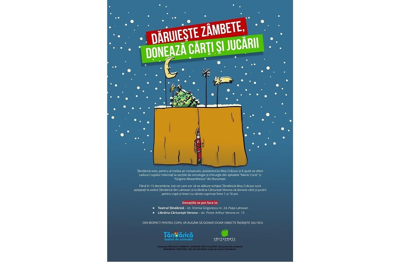 """Teatrul Țăndărică continuă campania """"Dăruiește zâmbete, donează cărți și jucării""""!"""